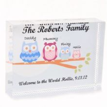 Owl Family Small Crystal - Personalised Housewarming Gift